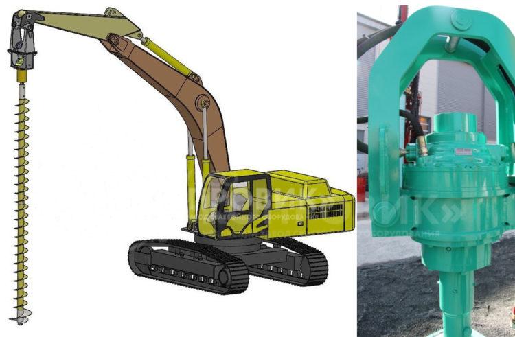 Гидровращатель подвесной ВБП для бурения под сваи производства УЗСО