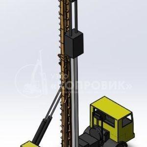 """Мачта МКА-12С-СК на базе грузового автомобиля КАМАЗ 53228 в рабочем положении - УЗСО """"Копровик"""""""